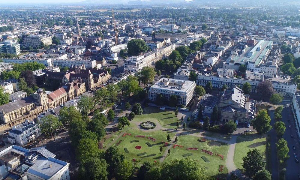 Aerial shot of Cheltenham