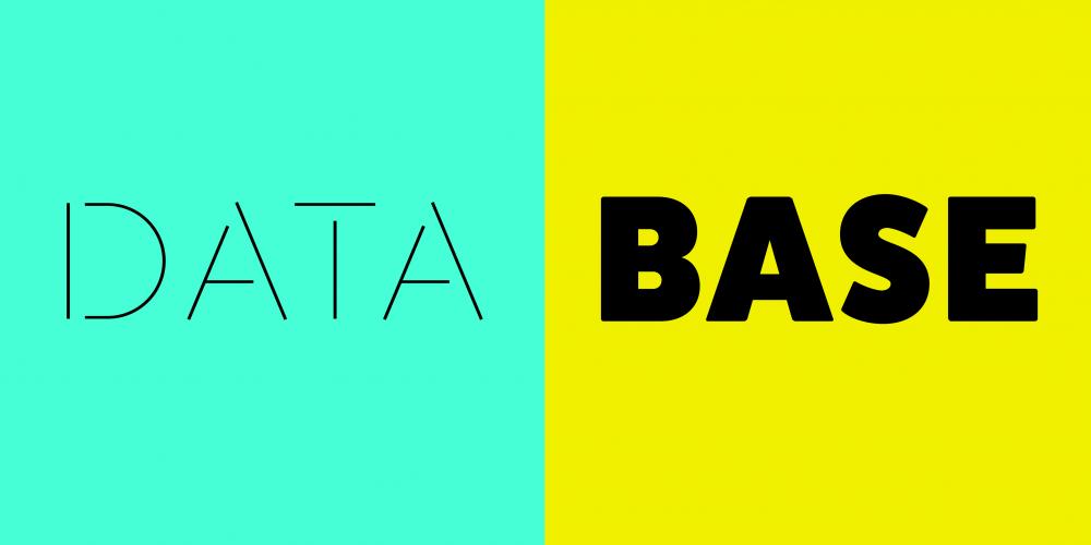 Decorative text reads 'data base'